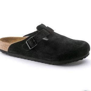 Birkenstock Boston suede Sz 9 Black soft footbed